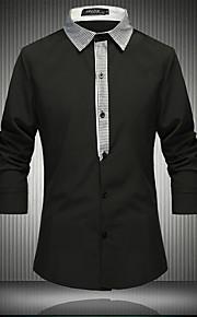 Heren Eenvoudig Lente / Herfst Overhemd,Casual/Dagelijks Effen Overhemdkraag Lange mouw Wit / Zwart Katoen / Overige Medium