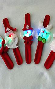 3pcschristmas עם מעגל טפיחת מנורת מתנת חג המולד קישוט חג המולד עם צמיד טבעת מנורת צץ יסודות שלישיים (סגנון אקראי)