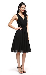 TS Couture Cocktail Party Prom Dress - Little Black Dress A-line V-neck Knee-length Chiffon with Appliques Criss Cross
