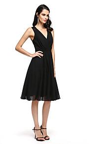 2017 ts couture® prom cocktailparty klä en linje V-ringad knälång chiffong med applikationer / korsmönstrad