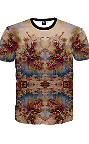 남성 프린트 라운드 넥 짧은 소매 티셔츠,심플 / 보호 / 액티브 데이트 / 비치 / 휴일 그레이 폴리에스테르 봄 / 여름 중간