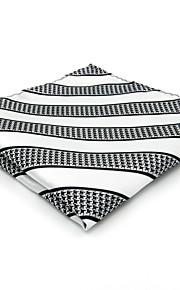 Mens Pocket Square White Stripes 100% Silk Business Handkerchief For Men