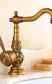伝統風 標準スパウト センターセット ワイドspary with  セラミックバルブ シングルハンドルつの穴 for  アンティーク真鍮 , 水栓