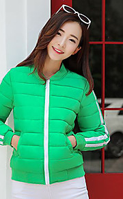 Women's Short Padded Coat,Simple / Street chic Going out / Casual/Daily Solid-Others Cotton Long Sleeve StandBlue / Red / White / Black /