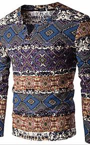 Normal Pullover Hommes Décontracté / Quotidien simple,Imprimé Bleu / Orange Col en V Manches Longues Coton / Lin Printemps / Automne Moyen