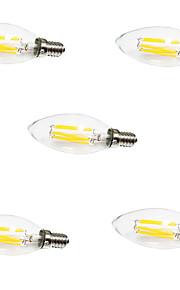 6W E14 Ampoules à Filament LED C35 6 COB 550LM lm Blanc Chaud / Blanc Froid Décorative V 5 pièces