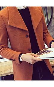 V-hals Langærmet Herre Blå / Rød / Orange Ensfarvet Efterår / Vinter Simpel Casual/hverdag Frakke,Polyester
