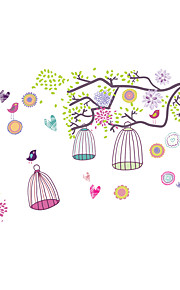 Branches Wall Stickers Colorful Birdcage Stickers Animals Decals for Kids