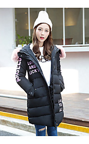 Women's Long Padded Coat,Simple Going out Solid-Polyester Cotton Long Sleeve Round Neck Pink / Black / Green