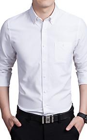 Heren Eenvoudig Herfst Overhemd,Casual/Dagelijks / Grote maten Effen Overhemdkraag Lange mouw Blauw / Roze / Wit / GrijsKatoen /
