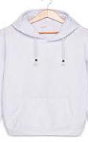 בינוני (מדיום) סתיו / חורף כותנה שרוול ארוך צווארון עגול כחול / ורוד / לבן / שחור / אפור / צהוב אחיד פשוטה יום יומי\קז'ואל Hoodies קצר