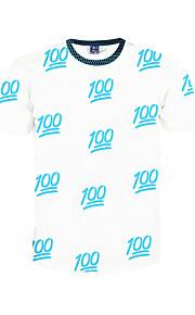 남성 프린트 라운드 넥 짧은 소매 티셔츠,심플 / 보호 / 액티브 데이트 / 비치 / 휴일 화이트 폴리에스테르 봄 / 여름 중간