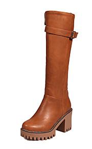 Women's Boots Spring / Fall / Winter Platform PU Dress / Casual Chunky Heel Zipper Black / Brown / Gray / Beige Others