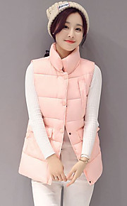 Women's Regular Padded Coat,Simple / Cute / Street chic Going out / Casual/Daily Solid-Polyester Cotton Sleeveless StandPink / White /