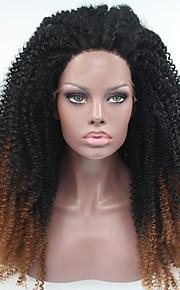 Sylvia syntetisk blonder foran parykk svart mørke rødbrune ombre hår varmebestandig kinky krøllete syntetiske parykker for svarte kvinner