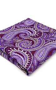 Men's Pocket Square Handkerchief Hanky Purple Paisley For Men 100% Silk Wedding