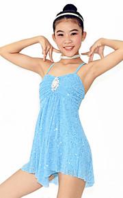 Dresses Women's / Children's Performance Spandex / Cascading Ruffle / Pearls / Pleated Ballet Sleeveless NaturalDress /