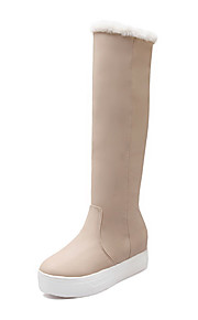 Women's Pull On Round Closed Toe Kitten Heels Pu Mid Top Boots