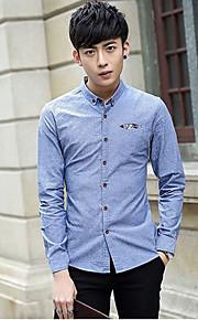 אחיד צווארון חולצה פשוטה / סגנון רחוב ליציאה / יום יומי\קז'ואל / מידות גדולות חולצה גברים,סתיו / חורף שרוול ארוך כחול דק כותנה