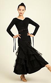 Ballroom Dance Dresses Performance Chinlon Ruffles / Sash/Ribbon 1 Piece Long Sleeve High Dress