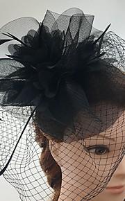 Femme Plume Tulle Filet Casque-Mariage Occasion spéciale Décontracté Coiffure Voile de cage à oiseaux 1 Pièce