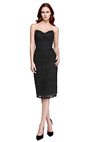 TS Couture Cocktail Party Prom Dress - Celebrity Style Little Black Dress Sheath / Column V-neck Knee-length Tulle Charmeuse with Beading