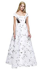 ts couture® prom formale sera abito A-Line Scoop pavimento-lunghezza raso con disegno / stampa