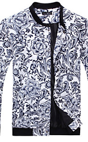 Herren Blumen Einfach Lässig/Alltäglich Jacke,Herbst Winter Ständer Langarm Blau Weiß Beige Mittel Kunstseide