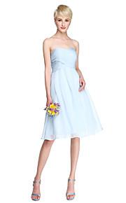 Lanting Bride® Knee-length Chiffon Bridesmaid Dress - A-line Sweetheart Plus Size / Petite with Criss Cross / Ruching