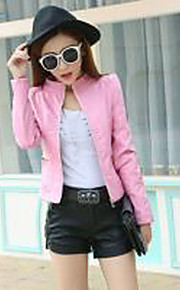 Women's Casual/Daily Vintage Leather Jackets,Solid Stand Long Sleeve Spring / Fall Pink / Black PU Medium