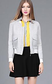 YBKCP Women's Casual/Daily Vintage JacketsGeometric Notch Lapel Long Sleeve Fall Winter Gray Polyester Medium