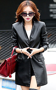 Women's Casual/Daily Simple Leather Jackets,Solid V Neck Long Sleeve Fall / Winter Red / Black Others Medium