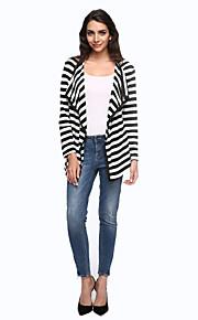 Damen Gestreift Einfach Lässig/Alltäglich Jacke,Herbst Hemdkragen Langarm Weiß Baumwolle