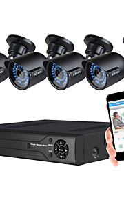 jooan® beveiligingssysteem 1080n 8-kanaals dvr recorder ondersteuning ahd / TVI / CVI / CVBS en 4 stuks weerbestendige tvi 1080p camera