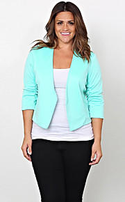 Women's Plus Size Casual/Daily Simple Fall Blazer,Solid Asymmetrical Long Sleeve Blue Cotton Polyester