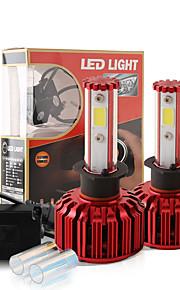 2017 nye h1 60W 6000lm cob chip førte forlygte konvertering kit 2 farver 5000K yale gul 6000K hvid pærer lampe par