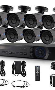 yanse® 8-kanaals 720p cctv camera beveiligingssysteem d / n ir 24LED bullet waterdichte bedrade ahd dvr kit