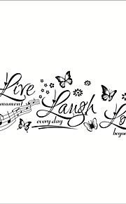 ZOOYOO® Live Love Laugh with Butterfly Removable Wall Stickers Window Sticker Art Decals Mural DIY Wallpaper for Room Decal