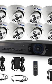 yanse® 8-kanaals 720p cctv camera d / n ir 4 geleid koepel waterdichte ahd dvr kit beveiligingssysteem