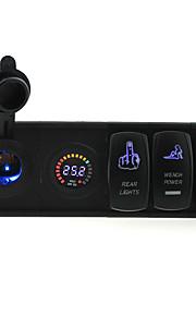dc 24v geleid digitale voltmeter stopcontact met toggle tuimelschakelaar jumper draden en huisvesting houder