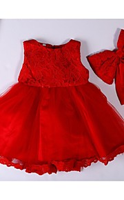 Ball Gown Short / Mini Flower Girl Dress - Organza Sleeveless Jewel with Bow(s) Lace