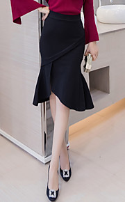 Women's OL Plus Size Fishtail Elegent Bodycon Trumpet/Mermaid Solid Ruffle Split Skirts Work Cute High Rise Asymmetrical Zipper