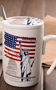 빈티지 드링크웨어, 400 ml 장식 세라믹 누드 우유 일상용 컵