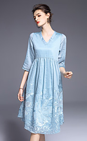 JOJO HANS Women's Going out Cute A Line DressEmbroidered V Neck Knee-length  Sleeve Blue Pink Silk Linen Spring Summer Mid Rise Micro-elastic