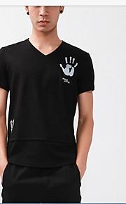 メンズ カジュアル/普段着 夏 Tシャツ,シンプル Vネック ソリッド コットン 半袖 ミディアム
