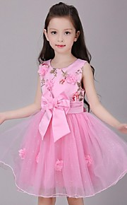Ball Gown Knee-length Flower Girl Dress - Organza Sleeveless Jewel with Appliques Bow(s) Flower(s)