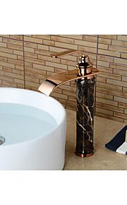 Moderni Integroitu Vesiputous with  Keraaminen venttiili Yksi kahva yksi reikä for  Ruusukulta , Kylpyhuone Sink hana