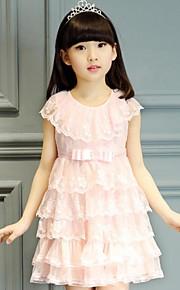 Mädchen Kleid Strand einfarbig Baumwolle Polyester Sommer Ärmellos