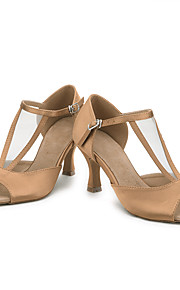 Zapatos de baile(Negro Azul Marrón Morado Rojo Marrón Oscuro) -Latino-Personalizables-Tacón Carrete