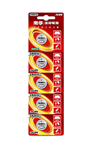 CR2032 Nanfu&de botón de litio pilas de 3V 5 pack